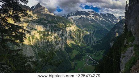 Panorama of Lauterbrunnen valley in the Bernese Alps, Switzerland.