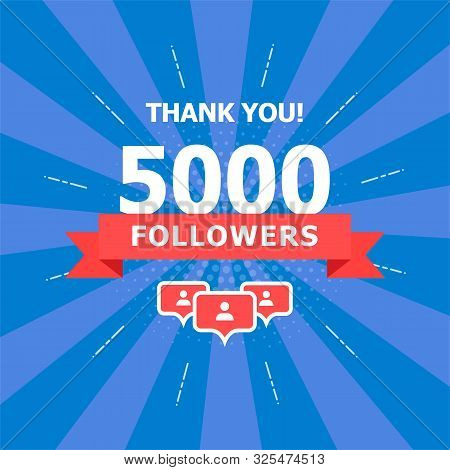 5000 Added Folks, Thank You. A Combination Of Different Objects Is Depicted On A Blue Background.
