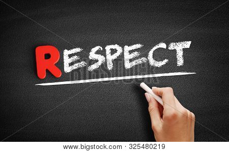 Respect Text On Blackboard, Business Concept Background