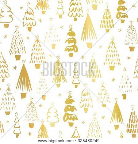 Gold Foil Metallic Christmas Trees On White Seamless Vector Pattern. Modern Golden Abstract Doodle H