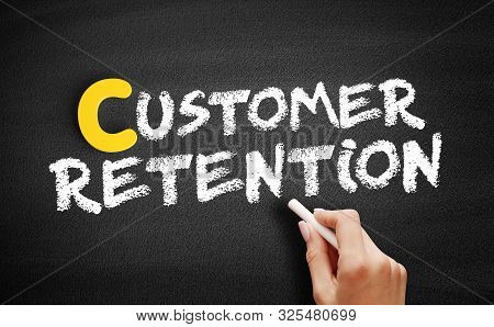 Customer Retention Text On Blackboard, Business Concept Background