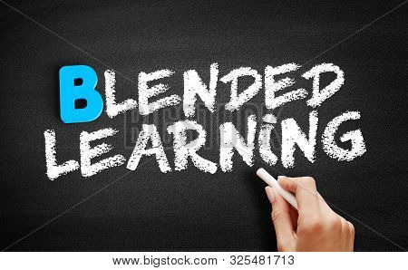 Blended Learning Text On Blackboard, Business Concept Background
