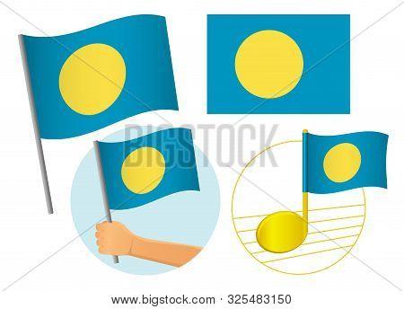 Palau flag icon set. National flag of Palau illustration poster