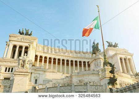 Sunset View Of Altar Of The Fatherland (altare Della Patria) Known As The Monumento Nazionale A Vitt