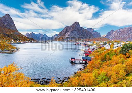 Clouds over the fishing village of Reine in Lofoten Islands, Norway