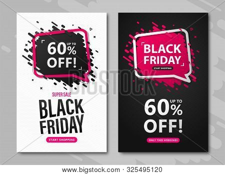Black Friday Sale Flyers. Set Od Discount Posters With Speech Bubble And Lettering Up To 60 Percent