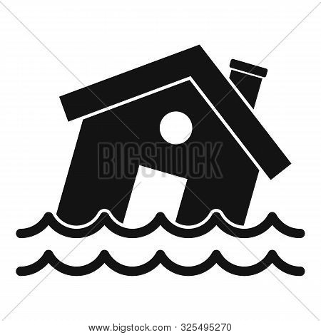 Flood Destroy House Icon. Simple Illustration Of Flood Destroy House Vector Icon For Web Design Isol