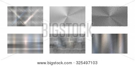 Brushed Metal. Steel Metallic Texture, Polished Chrome And Silver Metals Shine Realistic Backdrop. S