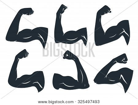 Hand Muscle Silhouette. Strong Arm Muscles, Hard Biceps And Power Gym. Armpits Muscle Fitness Logo,