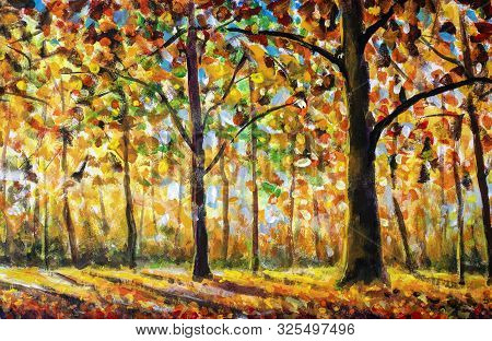 Gold Autumn Impressionism Oil Painting. Gorgeous Autumn Landscape Of Scenic Forest With Warm Sunshin