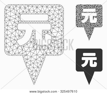 Mesh Yuan Map Pointer Model With Triangle Mosaic Icon. Wire Frame Polygonal Mesh Of Yuan Map Pointer
