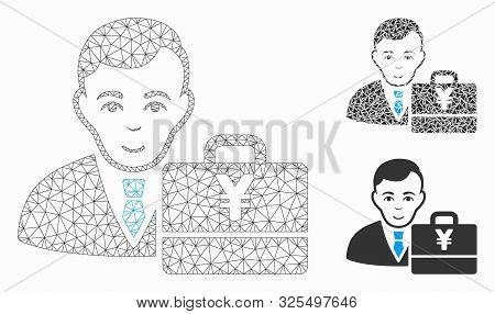 Mesh Yen Accounter Model With Triangle Mosaic Icon. Wire Frame Triangular Mesh Of Yen Accounter. Vec