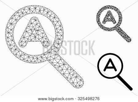 Mesh Zoom Auto Model With Triangle Mosaic Icon. Wire Carcass Polygonal Mesh Of Zoom Auto. Vector Mos
