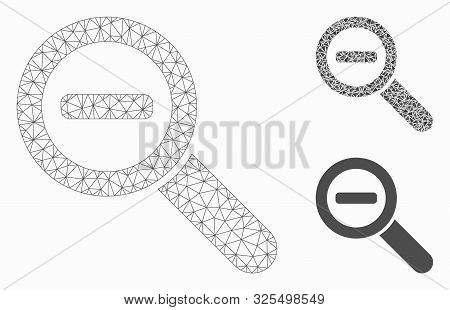 Mesh Zoom Out Model With Triangle Mosaic Icon. Wire Frame Polygonal Mesh Of Zoom Out. Vector Mosaic
