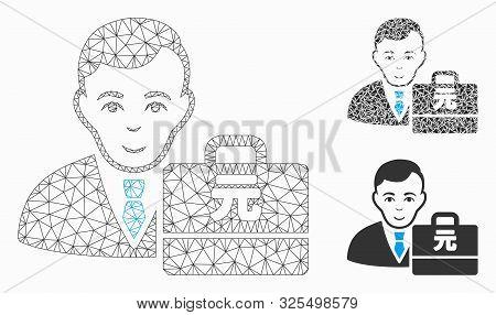 Mesh Yuan Renminbi Accounter Model With Triangle Mosaic Icon. Wire Carcass Polygonal Mesh Of Yuan Re
