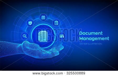 Dms. Document Management Data System. Document Icon In Robotic Hand. Corporate Data Management Syste