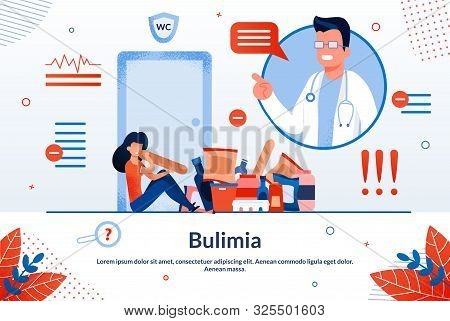 Bulimia, Eating Disorder Treatment, Women Psychological Problems Trendy Flat Vector Vector Banner, P