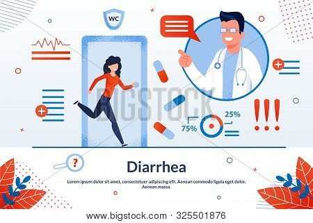 Diarrhea, Digestive Disorders, Stomach Or Bowel Diseases Treatment Trendy Flat Vector Vector Banner,