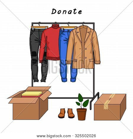 Color Vector Illustration Of Clothes Donation. Male Clothes And Carton Boxes Full Of Clothes. Jacket