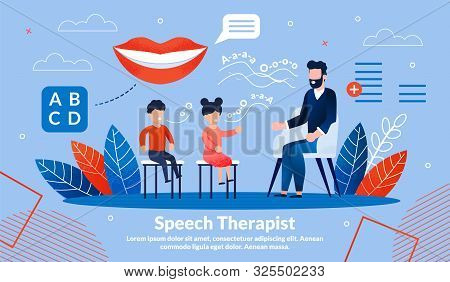 Speech Therapist Practice, Didactic Aids Correction And Treatment Trendy Flat Vector Vector Banner,