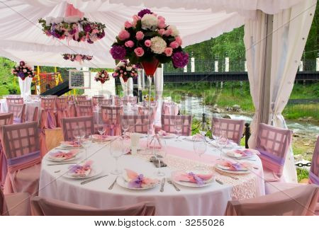 Wedding Tables In Outdoor Restaurant
