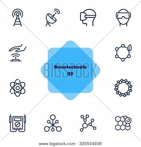 Nanotechnology Line Icon Set. Radar Satellite, Vr Headset, Organic Molecule. Modern Technology Conce