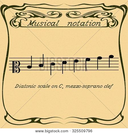 Diatonic Scale On Mezzo-soprano Clef. Color Illustration. Vector.