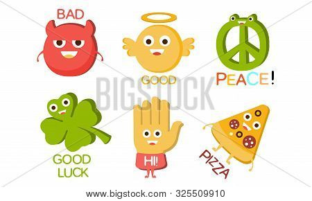 Words And Cute Cartoon Characters With Funny Faces, Bad, Good, Peace, Luck, Hi, Pizza Vector Illustr