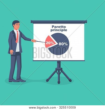 Businessman Shows On The Board The Principle Of Paretto. Concept 80-20 Percent. Business Rule Twenty