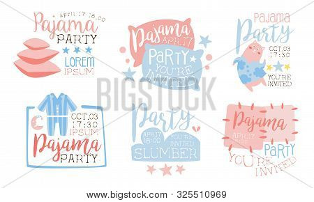 Pajama Party Invitation Card Templates Set, Slumber Party Cute Pink And Blue Labels Vector Illustrat