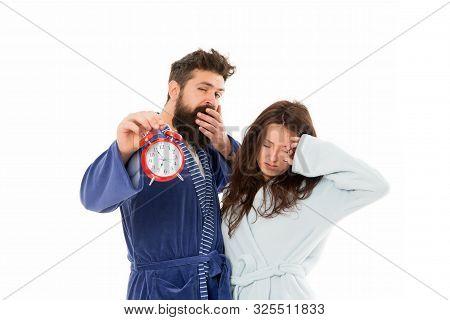Again In Bad Mood. Morning Alarm. Sleepy People. Couple In Love Bathrobes. Sleep Disorders. Drowsy A