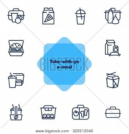 Take-with-you-meal Line Icon Set. Set Of Line Icons On White Background. Chinese Food, Brunch, Cardb