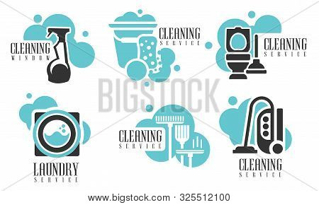 Cleaning Services Logo Set, Professional Cleaning Company Labels With Housekeeping Tools And Product
