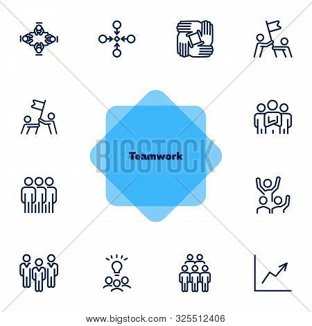 Team Working Together Line Icon Set. Stack Of Hands, Idea, Flag. Teamwork Concept. Can Be Used For T