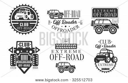 Offroader Club Retro Logo Set, Off Road Adventures Monochrome Badges Vector Illustration