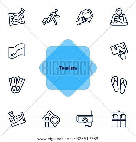 Tourism Line Icon Set. Set Of Line Icons On White Background. Travelling Concept. Diving Mask, Map,