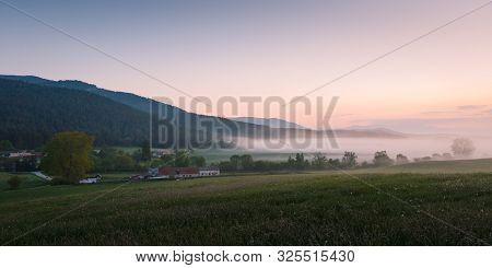 Polerieka Village In Turiec Region On A Foggy Morning, Slovakia.