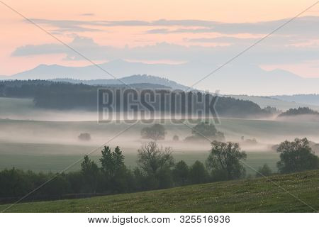Rural Landscape Of Turiec Region In Northern Slovakia On A Foggy Morning.