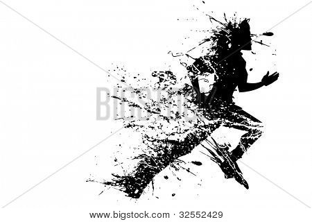illustration of splashy runner silhouette on white background poster