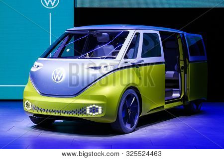Frankfurt Am Main, Germany  September 17, 2019: Electric Minivan Volkswagen I.d.buzz Presented At Th