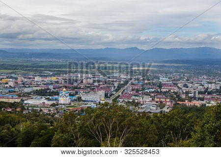 Yuzhno-sakhalinsk, Russia - August 30, 2019. View From The Bolshevik Mountain To The City And Surrou