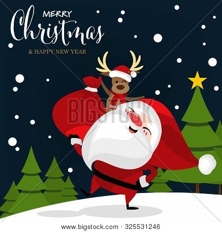 Christmas Cartoon Of Santa Claus, Reindeer, Christmas Tree On Snow Hill And Merry Christmas Text. Cu