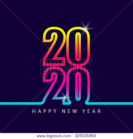 2020 Number Colorful Isolated On Blue Background, Number For Calendar, Happy New Year 2020,2020 Begi