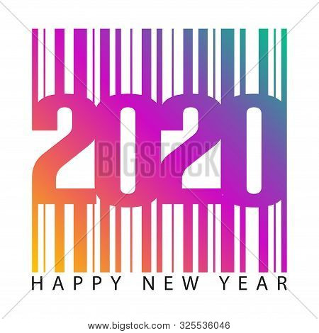 2020 Barcode Number  Isolated On White Background, Number For Calendar, Happy New Year 2020,2020 Beg
