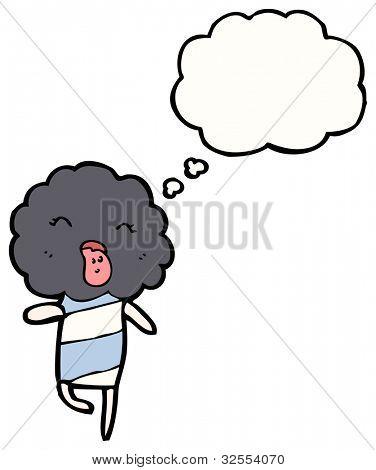cartoon thunder cloud creature poster