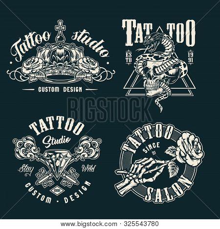 Vintage Tattoo Studio Prints With Monochrome Style Royal Crown Crossed Medieval Elegant Keys Skeleto
