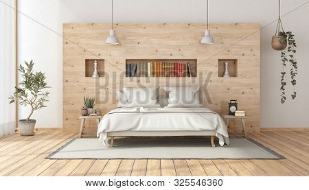 Master Bedroom In Rustic Style With Minimalist White Double Bed Against Wooden Wall - 3d Rendering