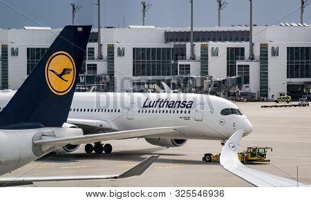 Munich, Germany - 2019 07 27: Lufthansa Jet Airplane Parked In The Airport Of Munich