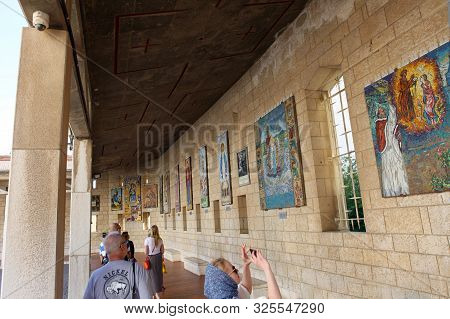 Nazareth, Israel - 10 May 2019: Church Basilica Of The Annunciation In The Center Of Nazareth