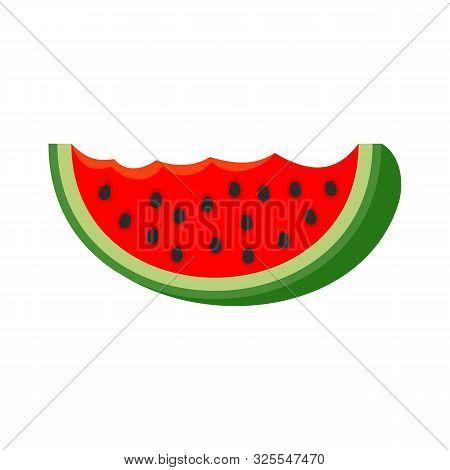 Watermelon Bite Slice Icon. Flat Illustration Of Watermelon Bite Slice Vector Icon For Web Design